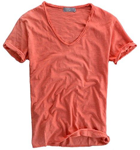 Qiuse Men's Basic V-neck Short Sleeved Tee X-Small Red