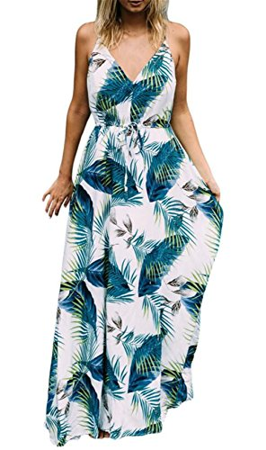 Womens Leaf Print Dress - LUKYCILD Women Summer Spaghetti Strap V Neck Backless Palm Leaves Print Maxi Dress Size XL (Green)