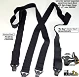 "Hold-Ups 1 1/2"" All Black Hidden Undergarment Suspenders with Black Gripper Clasps"