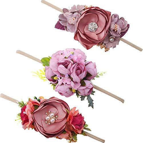 Baby Girl Floral Headbands Set - 3pcs Flower Crown Newborn Toddler Hair Accessories by ()