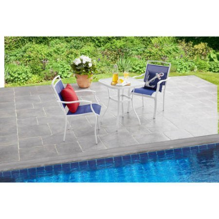 Cheap  3-Piece Outdoor Bistro Set, Seats 2, Rust-Resistant, Flagstone-Colored, Powder-Coated Steel Frame, Tabletop..