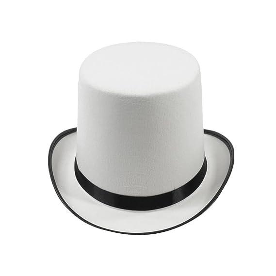 LUOEM Sombrero Chistera para Representación Disfraz 17 CM (Blanco ... 4aab8df00db
