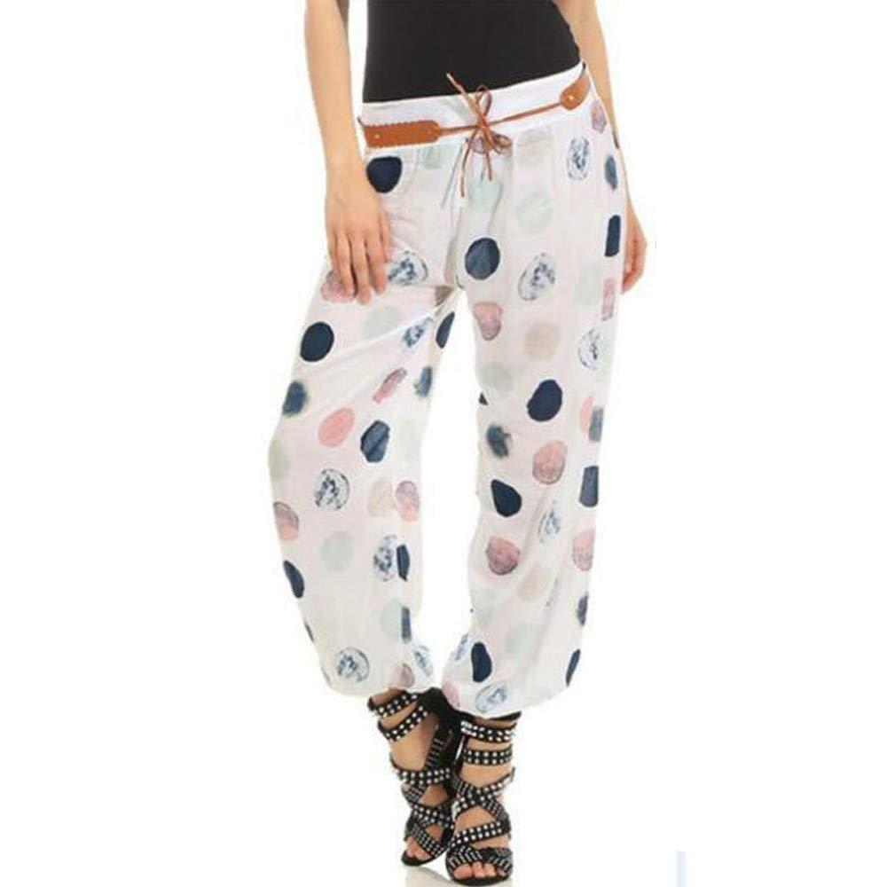 UONQD Women Printing Pocket Elastic Band Trousers Long Pants Baggy Pants (XXX-Large,White)