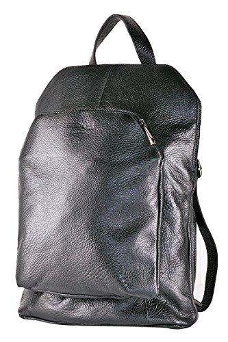 Borderline - 100% Made In Italy - Bag-backpack Women Leather - Diamond Black