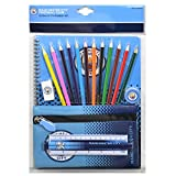 Manchester City Ultimate Stationary Set 19 pieces containing 12 colouring pencils, 2 pencils, A4 notepad, eraser, pencil case, ruler and a pencil sharpener Officially Licensed Ships from USA!