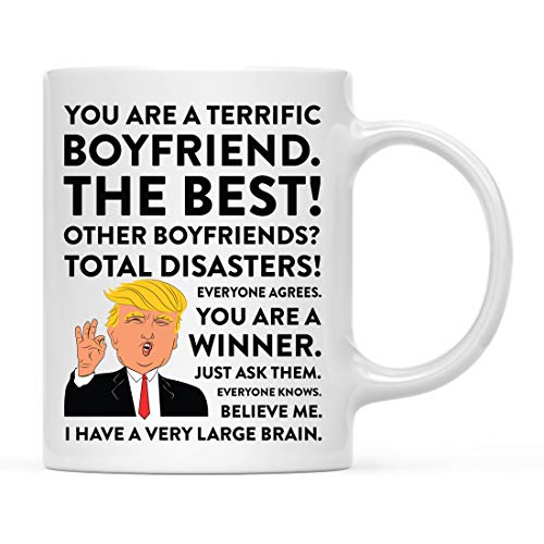Andaz Press Funny President Donald Trump 11oz. Coffee Mug Gift, Terrific Boyfriend, 1-Pack, Hot Chocolate Christmas Birthday Drinking Cup Republican Political Satire for Family in Laws