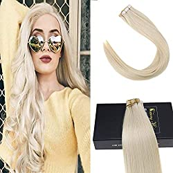 Sunny 22inch Platinum Blonde Remy Hair Tape in Hair Extensions #60 Blonde Two Tone Silky Straight Tape Hair Extensions Blonde 20pcs 50g
