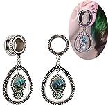 Bigbabybig Ear Plugs 00g Tunnels Gauges Body Piercing Jewelry for Women Opal Stainless Steel Screw