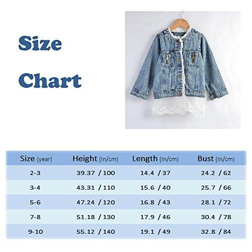 0ef2a5a82 Artfasion Kids/Girls Jean Jacket Toddler Spring Denim Jacket Lace Outwear  Cowboy Overcoat(7