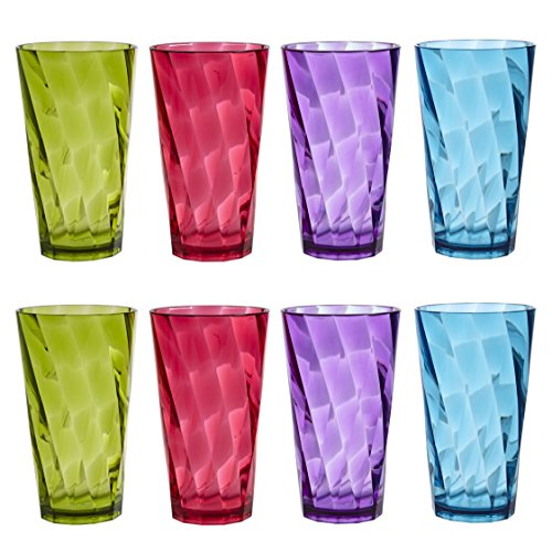 Optix 20-ounce Plastic Tumblers | set of 8 in 4 Assorted Colors by US Acrylic