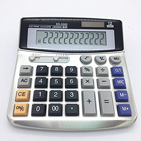 Electronic Desktop Calculator with 12 digits Large Display Battery or solar power supply Office - Office Basics