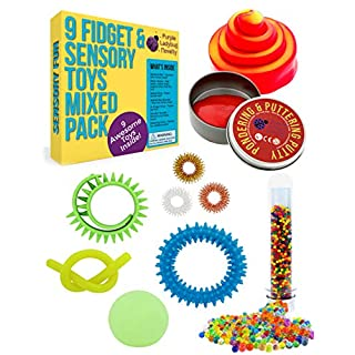 Purple Ladybug Sensory Toys Set for Kids - 9 Fully Tested Fidget Toys for Stress & Anxiety Relief, BPA & Phthalate Free Fidgets: Putty, Water Beads, Squishy Stress Ball, & More! Fun Gift for Children!