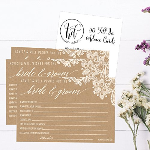 50 4x6 Kraft Rustic Wedding Advice & Well Wishes For The Bride and Groom Cards, Reception Wishing Guest Book Alternative, Bridal Shower Games Note Card Marriage Best Advice Bride To Be or For Mr & Mrs Photo #3