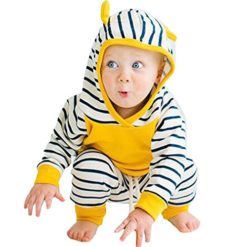 Tees Stripe Hoodie Tops (FUNOC 2Pcs Infant Baby Boys Girls Stripes Hoodies T-Shirt Tops Pants Outfits Clothes Set)