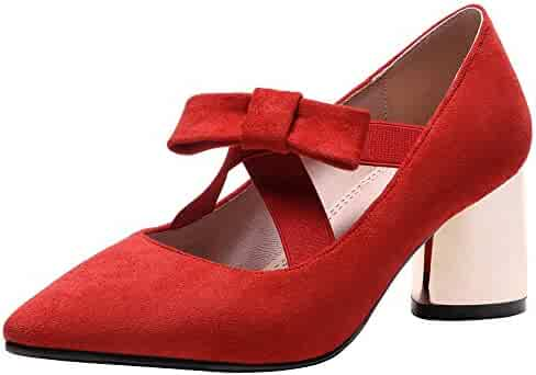 9d8a90847374 Mofri Women s Sexy Bow Elastic Cross Strap Pointed Toe Faux Suede Block  Medium Heel Slip on