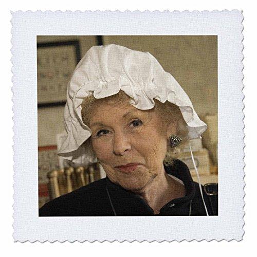 3dRose qs_95084_1 Woman in Hair Bonnet, Williamsburg, Virginia-US47 JME0103-John and Lisa Merrill-Quilt Square, 10 by (Colonial Costume Williamsburg)