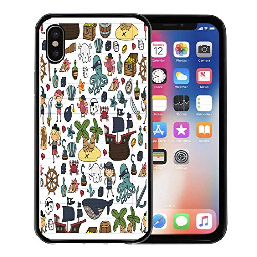 Semtomn Phone Case for Apple iPhone Xs case,Children Playing Pirates Boys and Girls Kindergarten School Preschool Halloween Party Treasure Island for iPhone X Case,Rubber Border Protective Case,Black]()