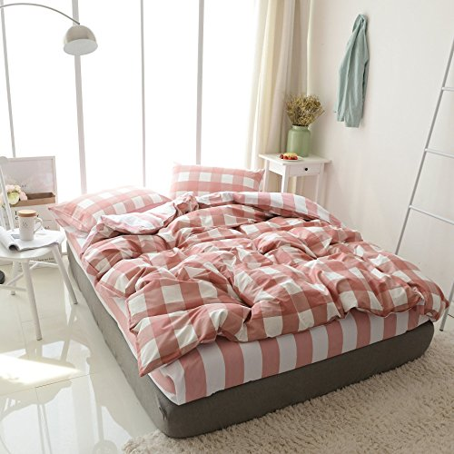 Gingham Standard Sham - Pink White Gingham Duvet Cover 100% Natural Cotton Duvet Cover Set 3 Pieces Simple plaid design for all seasons(King, Style 07) NO COMFORTER