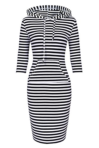 Women Hooded Sweatshirt Pullover Stripe Keen Length Kangaroo Pocket Sports Dress (XL, Black White)