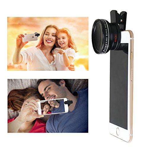 2-in-1 Obiettivo Smartphone 0.45x Ultra Lente Grandangolo + 12.5x Lenti Macro HD Lenti Smartphone Clip On Universale per Iphone Samsung HTC LG e Altri Smartphone Lega di alluminio Optical Glass Black,