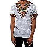 Gtealife Men's African Print Dashiki T-Shirt Tops Blouse (1-Grey, XL)