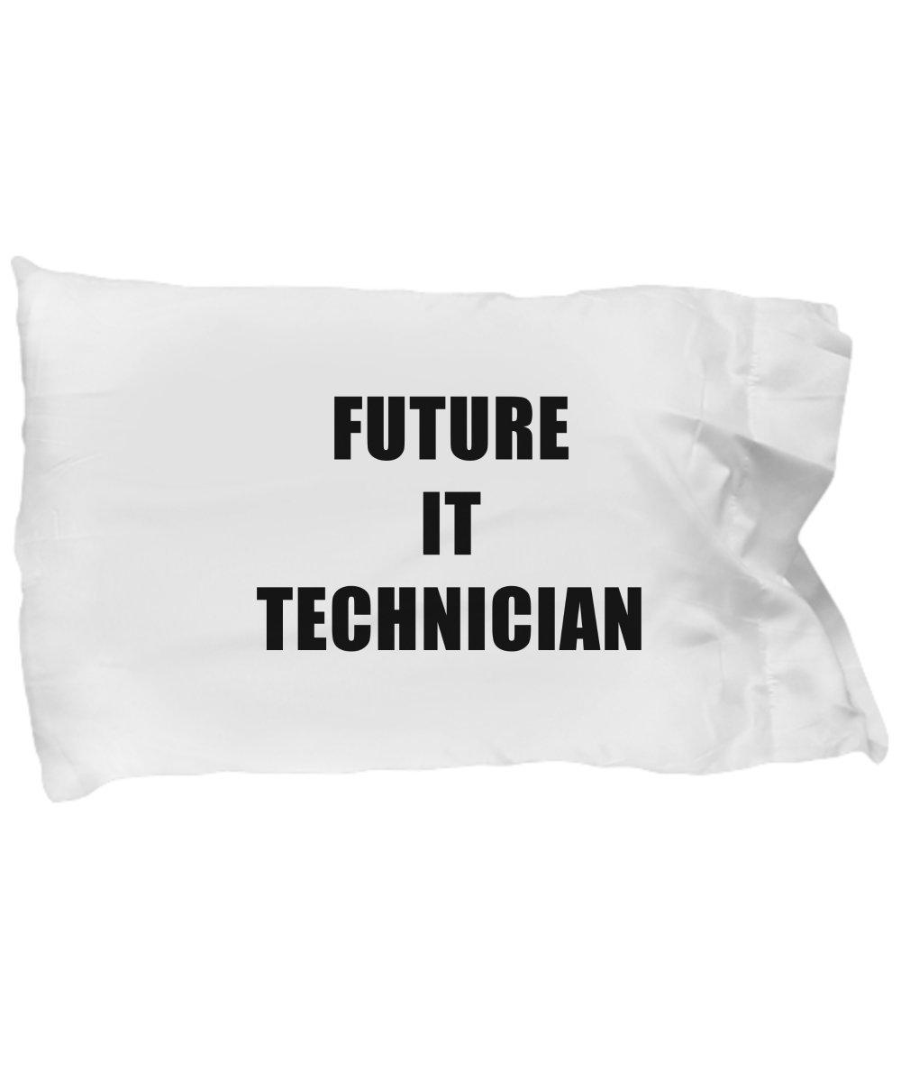 Hogue WS LLC Future IT Technician Standard Size White Pillow Case - Profession, Worker, Dream Job Computer Technology Tech