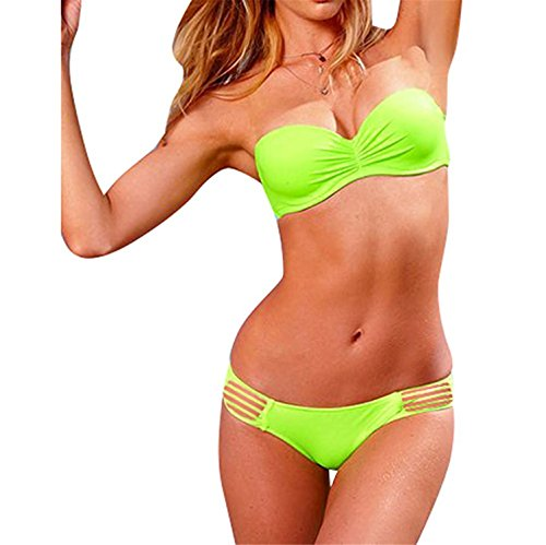 Stevenurr Wonderful Women's Strappy Bikini Swimsuit Small Green Great