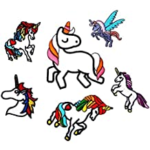 Anddyam Unicorn Iron on Patch Decorative Embroidered Motif Applique (6pcs)