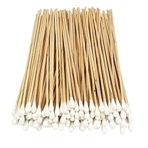 Cotton Swab 100 Pcs Wood Handle Cotton Tip Swab Cotton Buds Cotton Tipped Applicator for Cleaning, Makeup, Polishing…