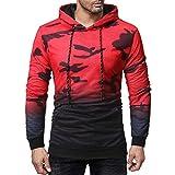 iLXHD Long Sleeve Camouflage Hoodie Hooded Sweatshirt Top Tee Outwear Blouse(Red,2XL)