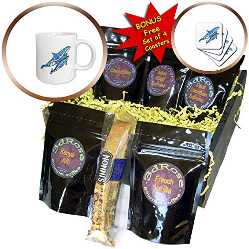 3dRose MacDonald Creative Studios – Tribal Animals - Two Polynesian tribal style killer whales, or Orcas in ocean blue. - Coffee Gift Baskets - Coffee Gift Basket (cgb_295598_1)