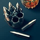 RAD WHISKEY BULLET STONES WITH REVOLVER FREEZER BASE XL Set of 6, Gift for Whisky, Bourbon, Scotch Lovers, Groomsmen, Military, Father