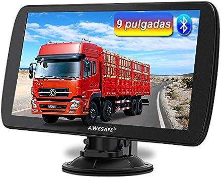 AWESAFE 9 Pulgadas Navegador GPS para Camiones y Coches, con Bluetooth y Actualizaciones de Mapas de Europa para Toda la Vida: Amazon.es: Electrónica