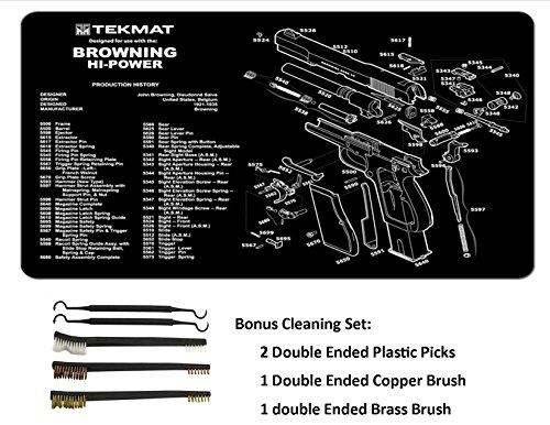 TekMat 11-Inch X 17-Inch Handgun Cleaning Mat with Various Imprint, Black Bonus 5 Pc Gun Cleaning Brush & Pick Set (11