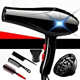 Nclon Dry hair dryer Salon tools Professional 3800w,Professional Powerful Concentrator nozzle Diffuser Household Lightweight Quiet Salon -black