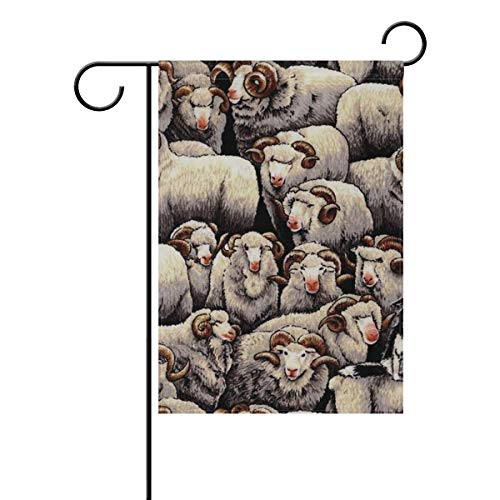 Merino Sheep with Border Collie Dog Home Flags Printed Double-Sided Polyester Garden Flag - 28hW x 40
