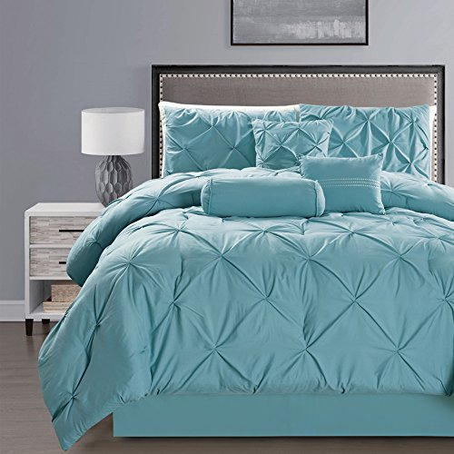 7- Piece Solid AQUA BLUE Pinch Pleat DUVET COVER Set FULL / QUEEN Size Bedding with Accent Pillows
