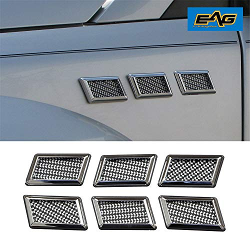 EAG E-Autogrilles Car Universal Chrome Rectanglar Style Air Flow Fender Side Vents Decoration (6PCS) (61-0207)