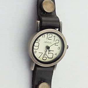 New Arrival Wrap Around Bracelet Watch Imitation Leather Chain Women Quartz Rivet Wrist Watch (brown)