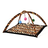 Topbeu Pet Cat Folding Bed Cat Play Tent Toys Mobile Activity Playing Bed With Hanging Toy Balls (Leopard)
