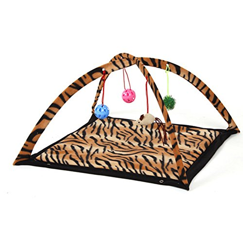 Topbeu Pet Cat Folding Bed Cat Play Tent Toys Mobile Activity Playing Bed With Hanging Toy Balls (Leopard) by Topbeu
