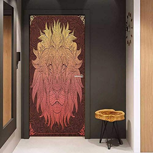 Glass Door Sticker Decals Safari Patterned Ornate Lion Head with Digital Featuring Totem Asian Zoo Wild Bohemian Door Mural Free Sticker W23 x H70 Yellow Maroon