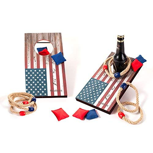 (Mealivos 2-in-1 Bag &Ring Toss Game (Flag))