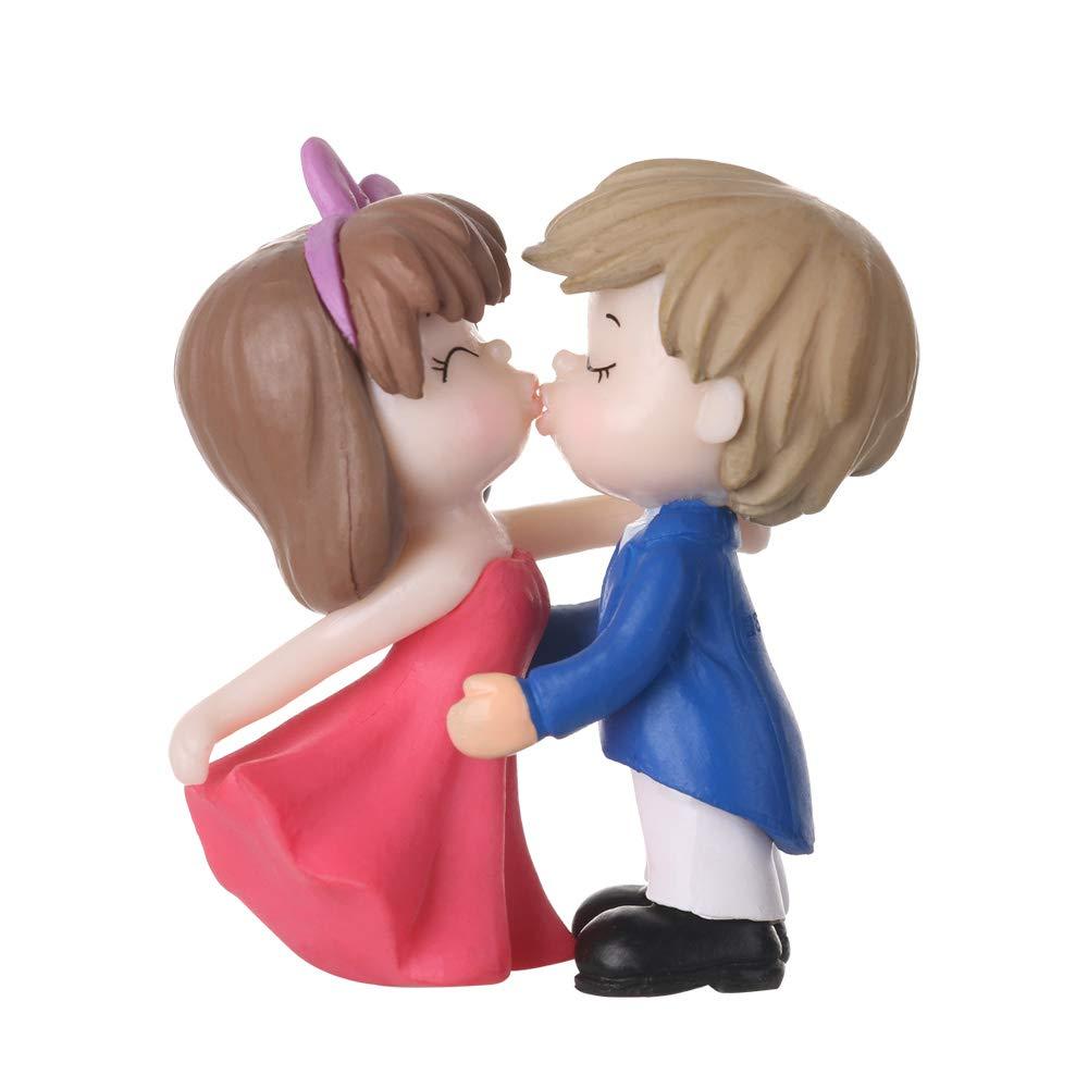 neaverler Naruo1 Coppia di Innamorati Kiss per Matrimonio Blu e Rosa Coppia di statuine Ornamentali per Torta in Resina San Valentino
