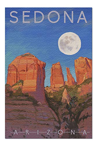 (Sedona, Arizona - Cathedral Rock - Moon - Oil Painting (20x30 Premium 1000 Piece Jigsaw Puzzle, Made in USA!))