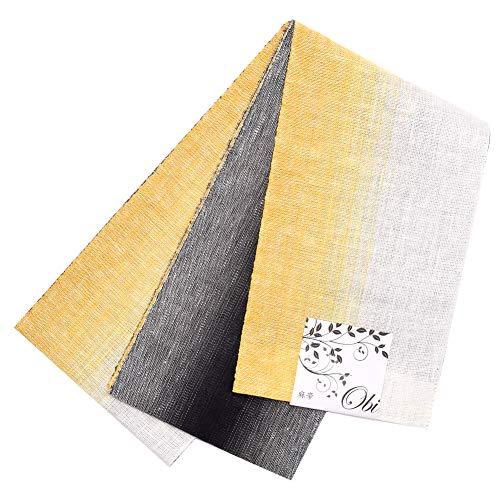 出席する人物ジョブ[ KIMONOMACHI ] 麻 半幅帯「黄色ぼかし×黒色」