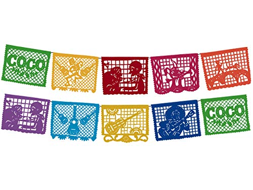 (Coco Movie Large Plastic Papel Picado Banner 10 Multicolored Panels 2)