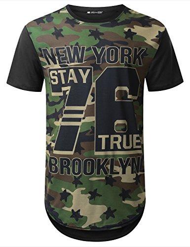 URBANTOPS Mens Hipster Hip Hop Newyork Camo Graphic Longline T-shirt BLACK, S