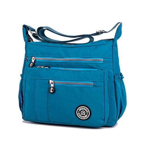body Bag Messenger Cross Zipper Pockets TianHengYi Lightweight with Bag Casual Sea Blue Nylon Shoulder Womens xUPW8WqTnz