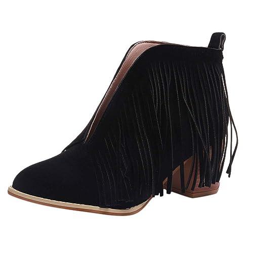 Rawdah Botas Mujer Invierno Zapatos de Mujer de Moda Botines de Moda con Flecos de Flecos sólidos Botines Cortos de Martin Bootie Zapatos Mujer Plataforma: ...